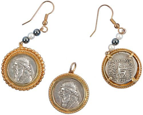 0014: GREEK SILVER DRACHM JEWELRY