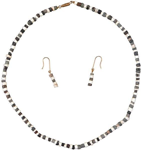 0003: BABYLONIAN STONE BEAD NECKLACE & EARRINGS