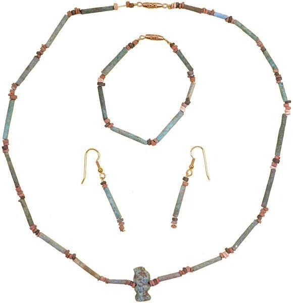 0004: EGYPTIAN NECKLACE W/AMULET & BRACELET & EARRINGS