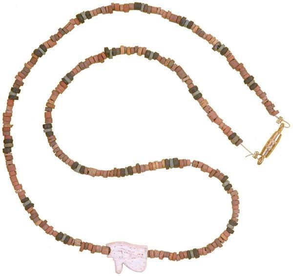 0005: EGYPTIAN NECKLACE W/ WHITE EYE OF HORUS AMULET