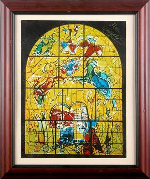 MARC CHAGALL SIGNED WINDOWS LITHOGRAPH