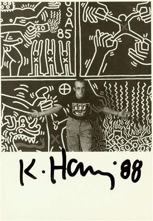 KEITH HARING SIGNED PHOTO WITH PAINTING PRINT