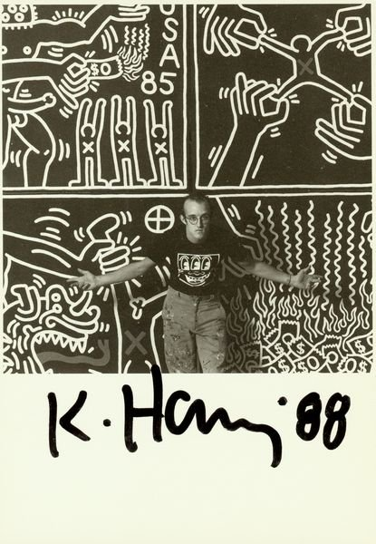 0779: KEITH HARING SIGNED PHOTO WITH PAINTING PRINT