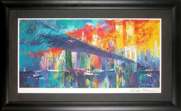 0785: LEROY NEIMAN SIGNED COLOR LITHO  BROOKLYN BRIDGE