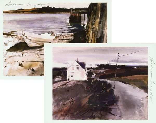 0791: ANDREW WYETH SIGNED MUSEUM CARD PRINTS