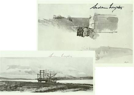 ANDREW WYETH SIGNED BOOK PLATE PRINTS
