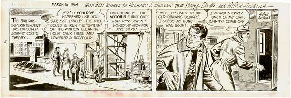 ALFRED ANDRIOLA SIGNED KERRY DRAKE COMIC DRAWING