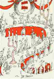 DR. SEUSS SIGNED PRINT OF WHOVILLE DRAWING