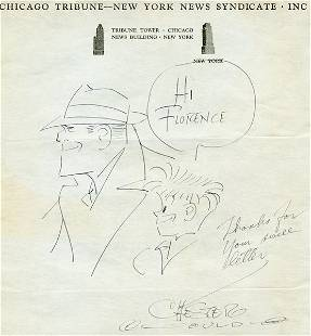 CHESTER GOULD VINTAGE SIGNED TRACY DRAWING