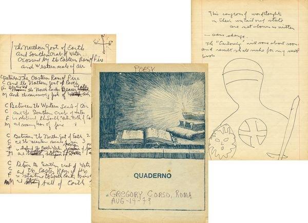 0870: GREGORY CORSO SIGNED HANDWRITTEN MANUSCRIPT