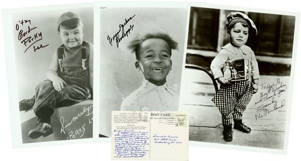 1207: OUR GANG SIGNED PHOTOS SPANKY /PORKY /PINEAPPLE +