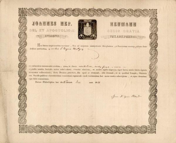 0010: AMERICAN SAINT JOHN NEUMANN SIGNED DOCUMENT