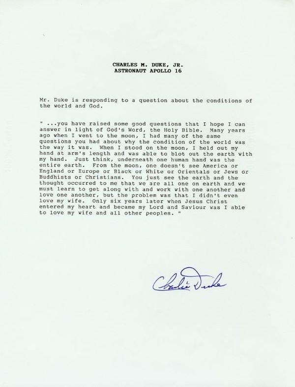 0019: ASTRONAUT CHARLES DUKE SIGNED TRANSCRIPT