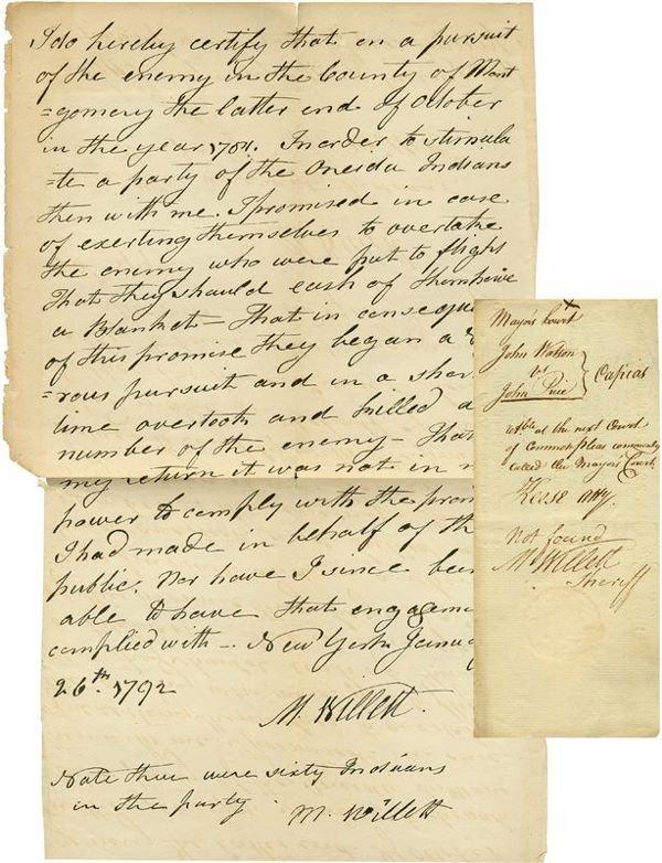 0087: MARINUS WILLET HANDWRITTEN SIGNED DOCUMENT