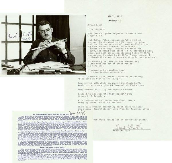 0301: SIR FRANK WHITTLE SIGNED PHOTO/DOCUMENT/BIO