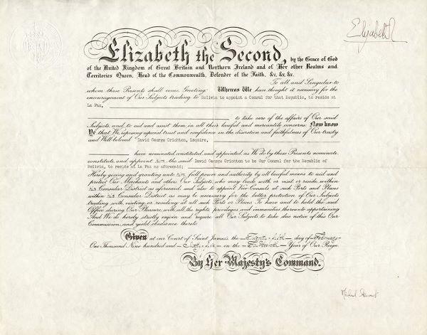 0375: QUEEN ELIZABETH II SIGNED DOCUMENT