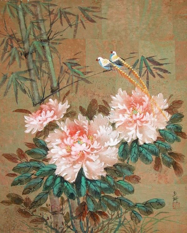 0652: ASIAN PEONY & BIRD SIGNED WATERCOLOR