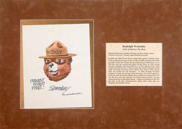 0664: RUDOLPH WENDELIN SIGNED SMOKEY WATERCOLOR ART