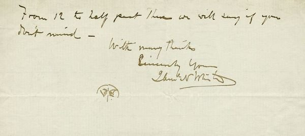 0665: JAMES A. WHISTLER HANDWRITTEN SIGNED NOTE