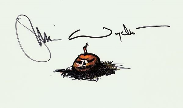 0667: JAMIE WYETH SIGNED PUMPKIN SKETCH
