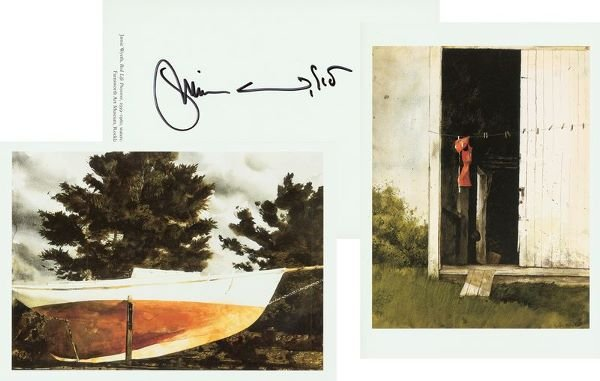 0668: JAMIE WYETH SIGNED COLOR CARD PRINTS