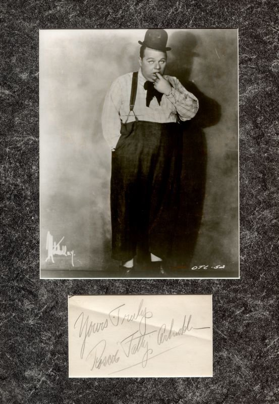0881: ROSCOE 'FATTY' ARBUCKLE SIGNED ALBUM LEAF W/ PIC