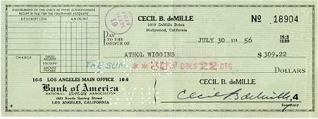 0910 CECIL B DEMILLE SIGNED CHECK