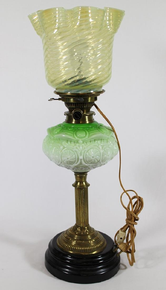 MESSENGERS PATENT GREEN GLASS LAMP