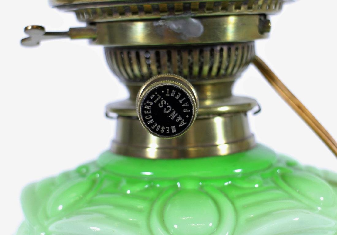 MESSENGERS PATENT GREEN GLASS LAMP - 3