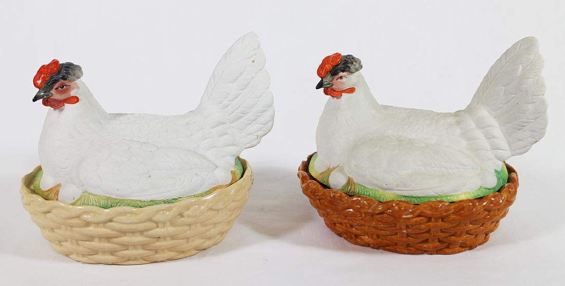 (2) 19th C STAFFORDSHIRE HEN ON NEST COVERED BOX