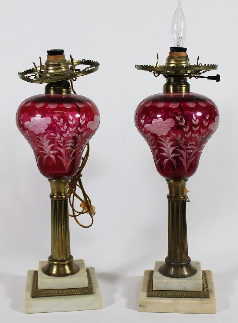 (2) CRANBERRY CUT TO CLEAR GLASS LAMPS