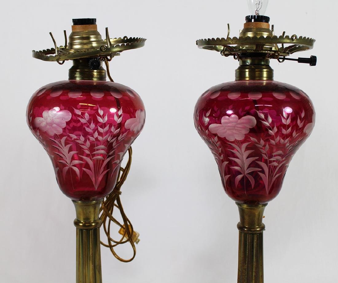 (2) CRANBERRY CUT TO CLEAR GLASS LAMPS - 2