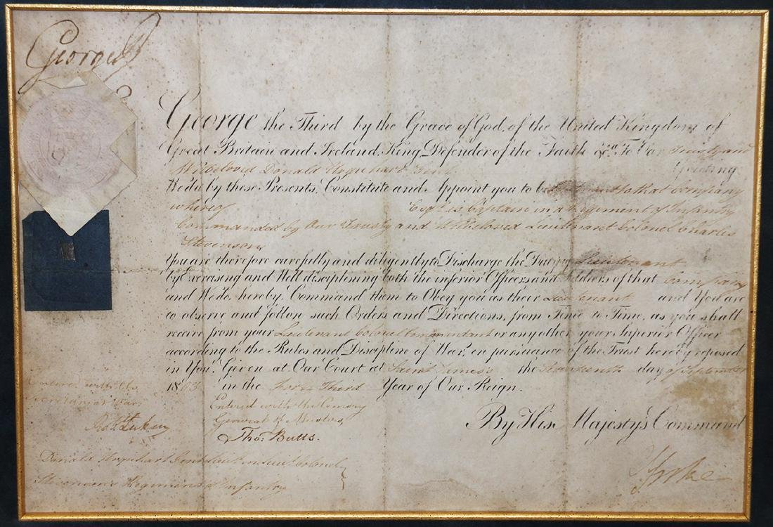 1803 GEORGE III SIGNED DOCUMENT