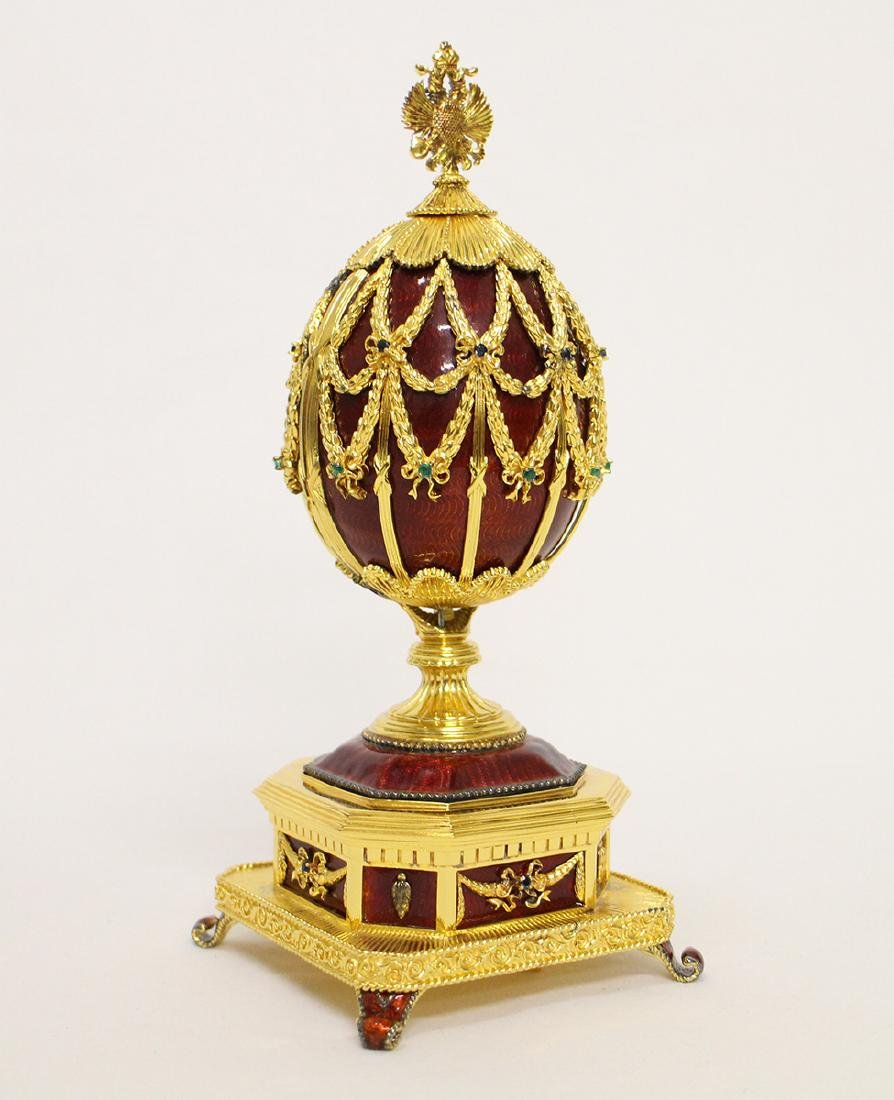 FRANKLIN MINT IMPERIAL EAGLE FABERGE EGG MUSIC BOX - 4