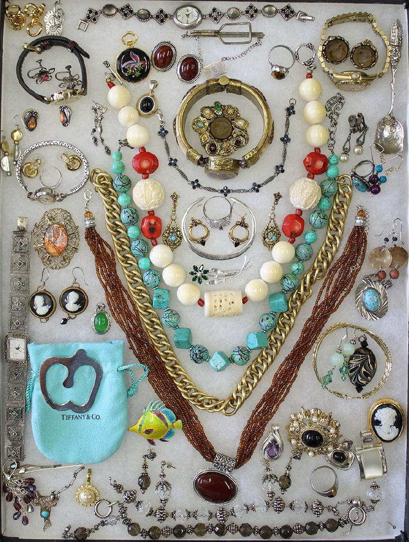VINTAGE COSTUME, STERLING, & GOLD JEWELRY