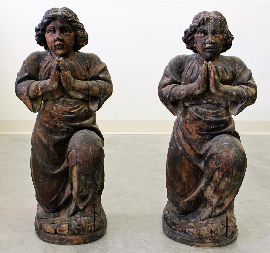 (2) CARVED WOOD ALTER STATUES
