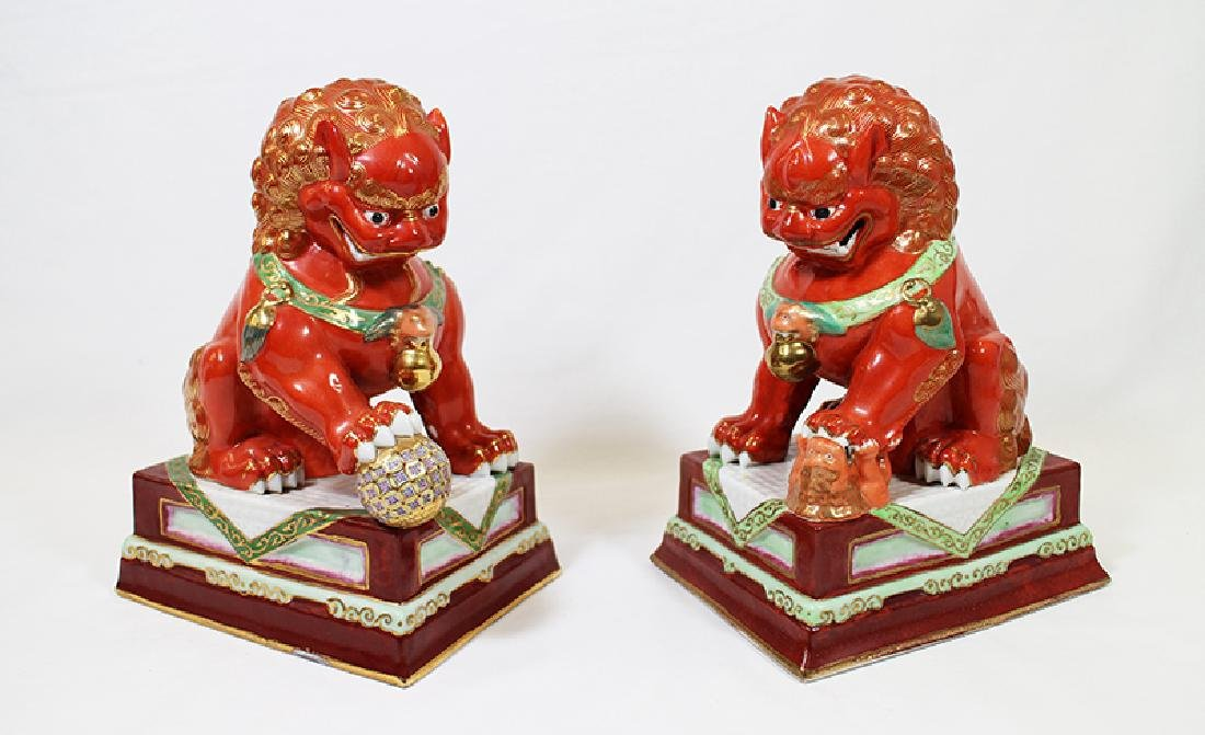 (2) CHINESE POLYCHROME FOO DOGS