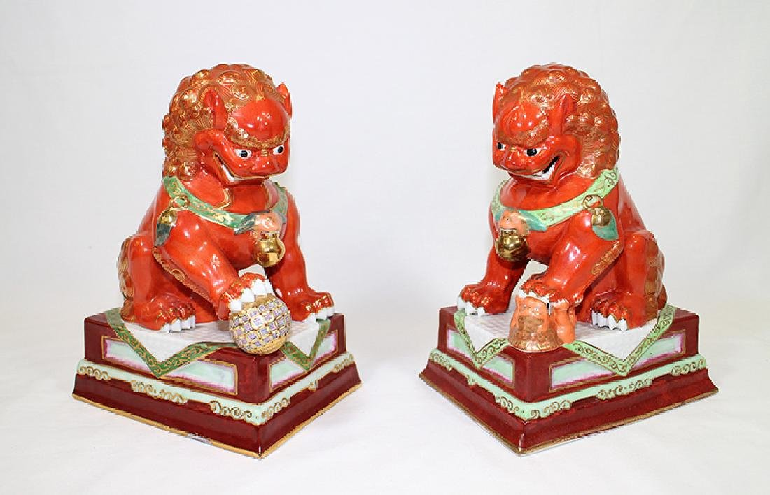 (2) CHINESE POLYCHROME FOO DOGS - 2
