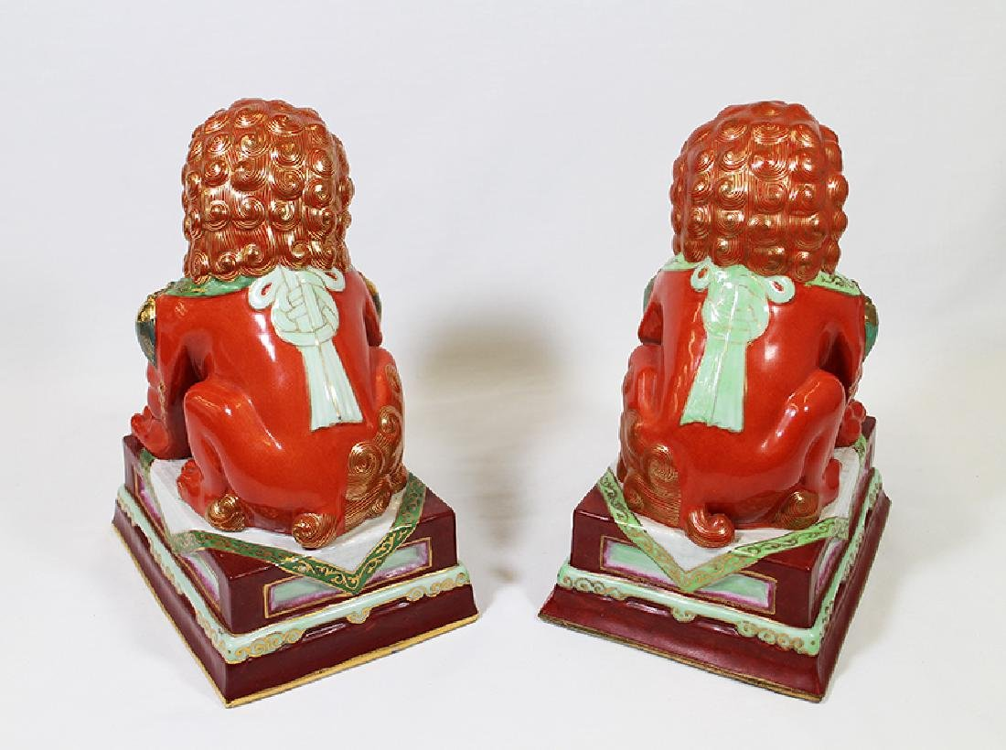 (2) CHINESE POLYCHROME FOO DOGS - 4
