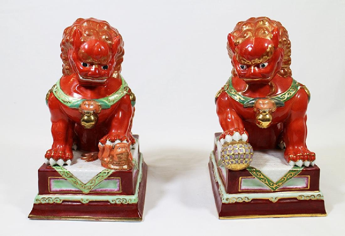 (2) CHINESE POLYCHROME FOO DOGS - 5