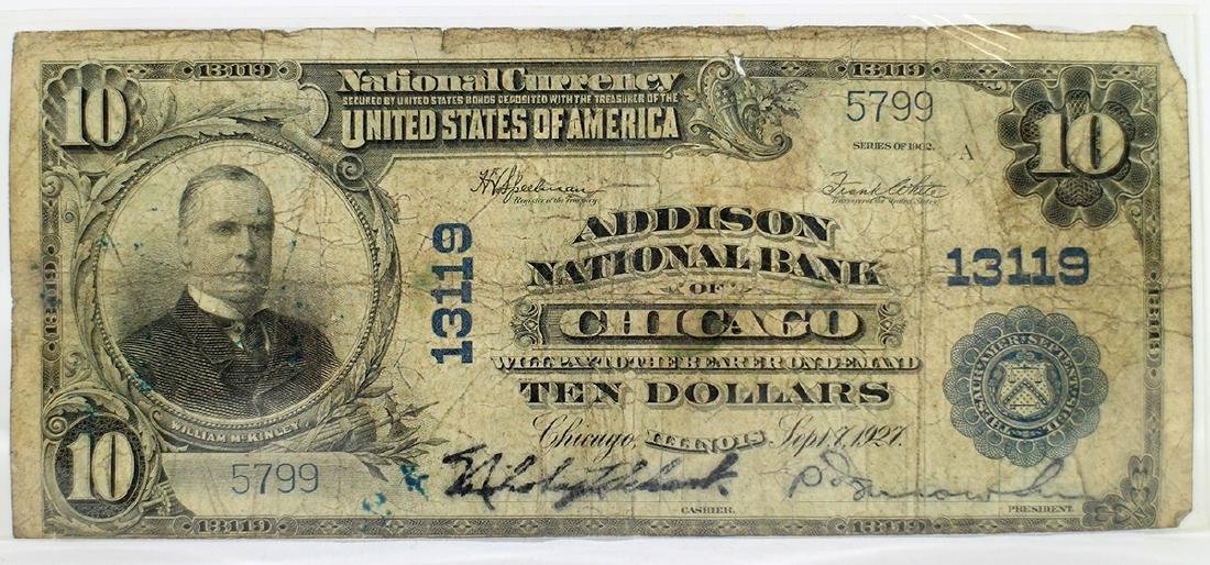 1927 ADDISON NATIONAL BANK $10 BILL