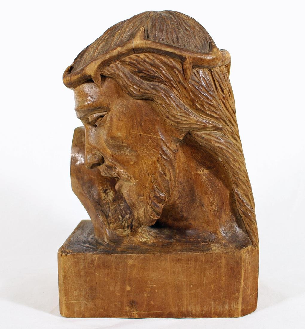 FERNAND BOURGAULT CARVED WOOD BUST