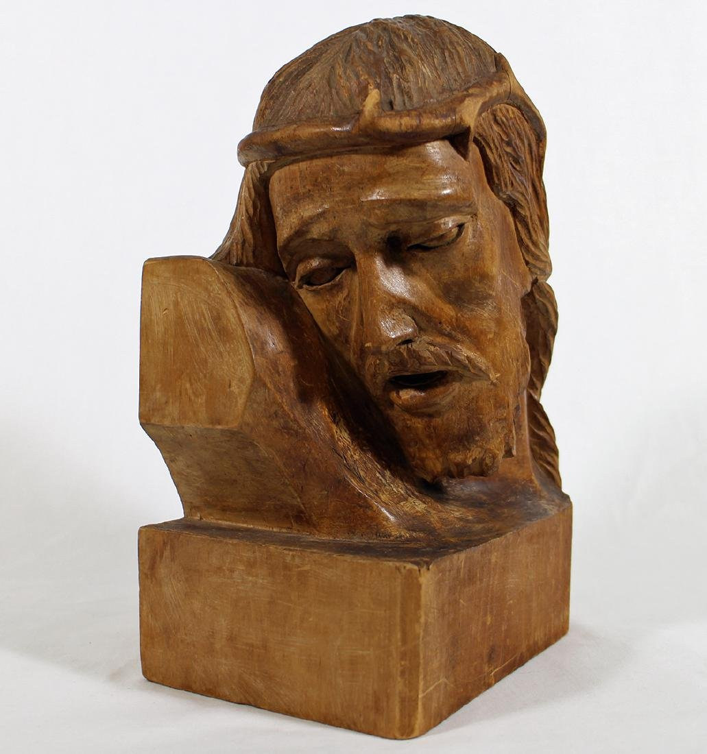 FERNAND BOURGAULT CARVED WOOD BUST - 2