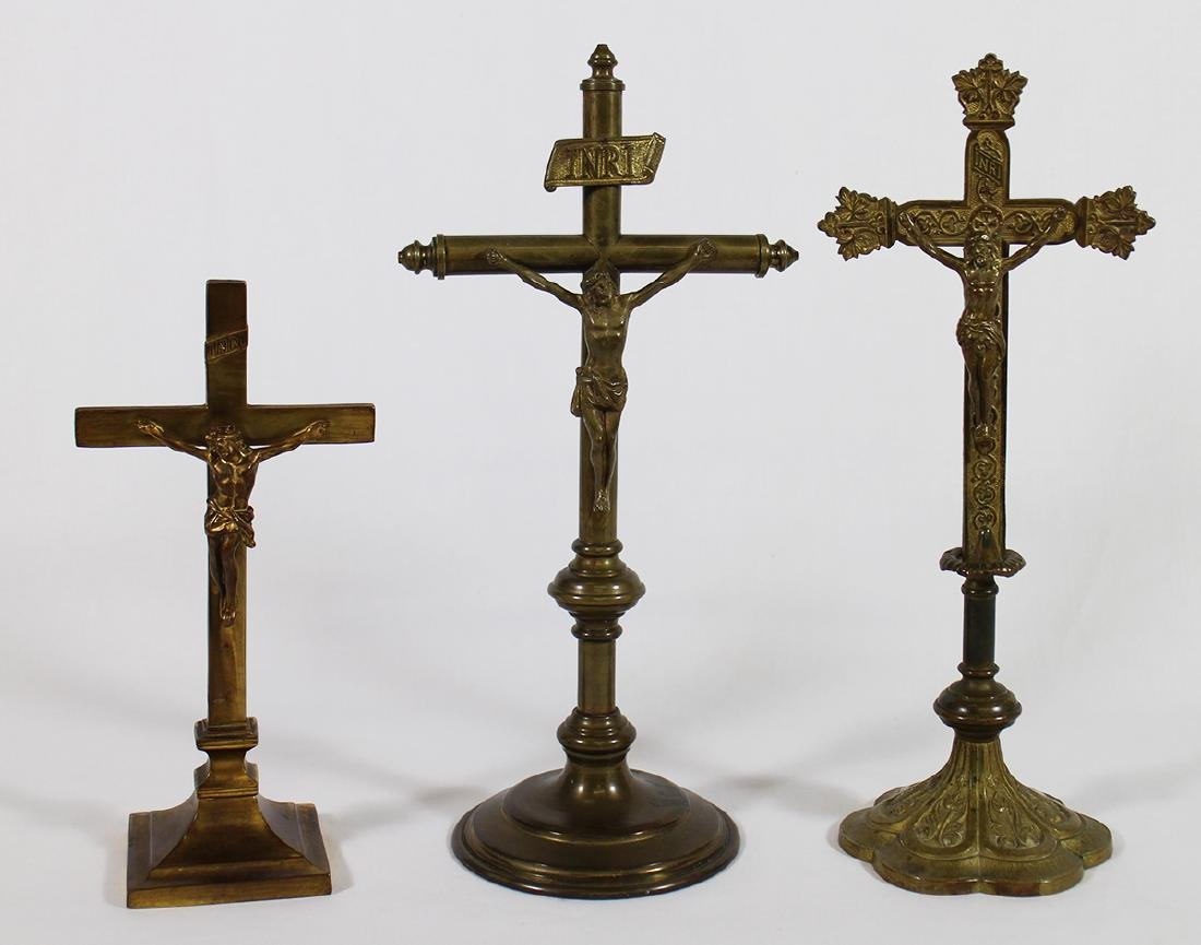 (3) VINTAGE GILTED BRASS ALTER CRUCIFIXES