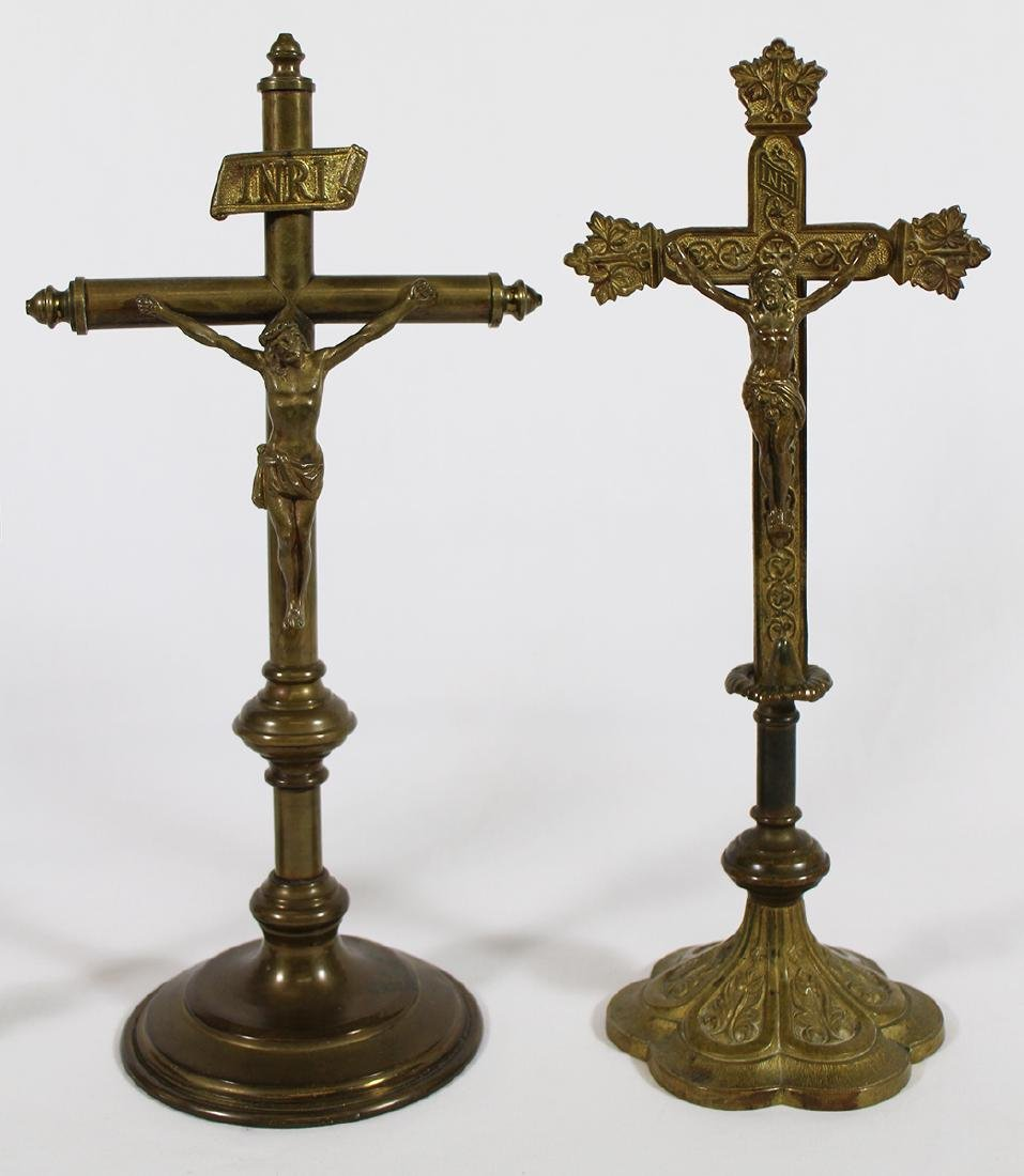 (3) VINTAGE GILTED BRASS ALTER CRUCIFIXES - 3