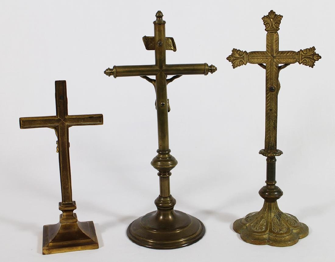 (3) VINTAGE GILTED BRASS ALTER CRUCIFIXES - 4