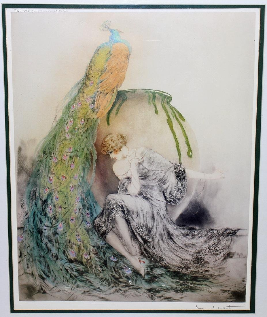 LOUIS ICART WOMAN WITH PEACOCK - 2