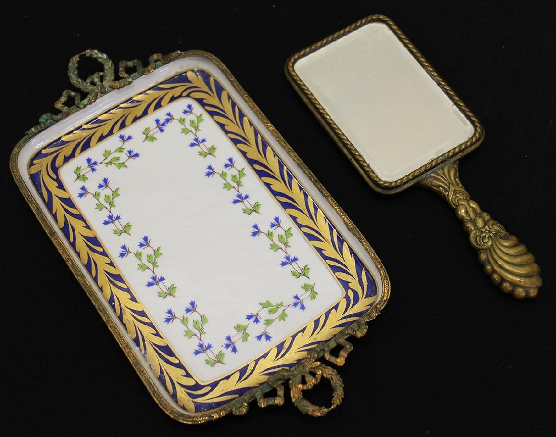 LIMOGES PORCELAIN & GILT VANITY TRAY & MIRROR