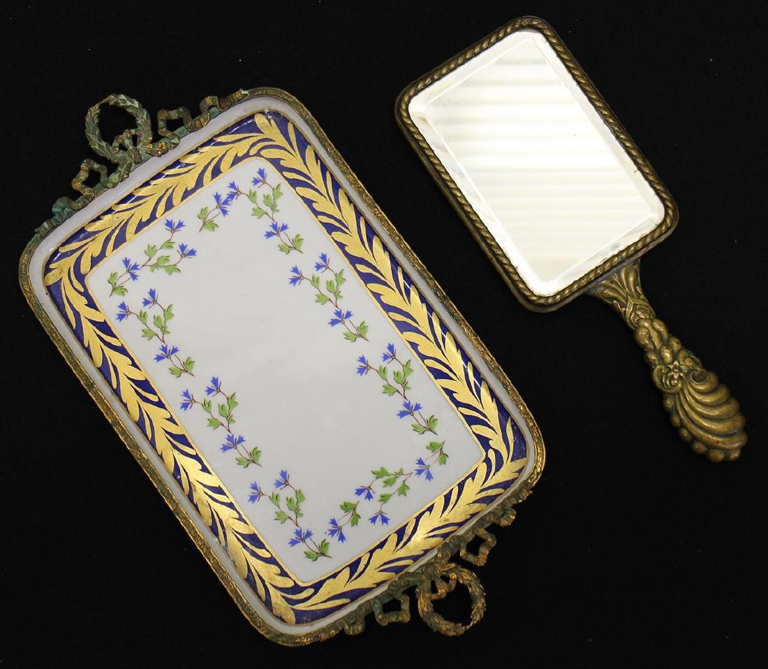 LIMOGES PORCELAIN & GILT VANITY TRAY & MIRROR - 2