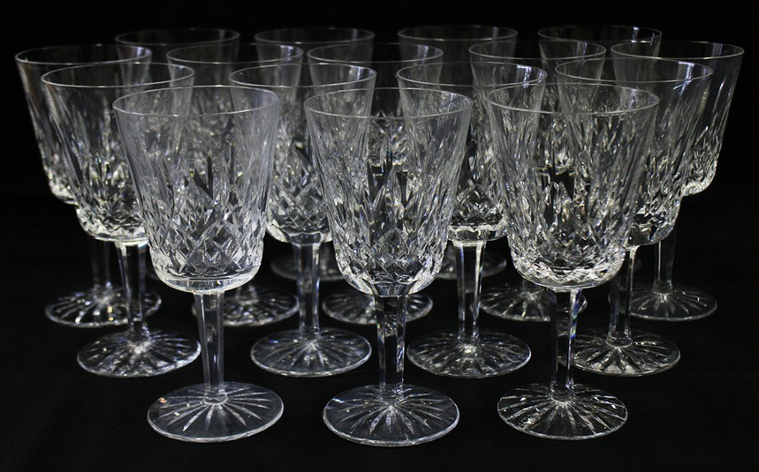 (16) WATERFORD LISMORE WATER GOBLETS